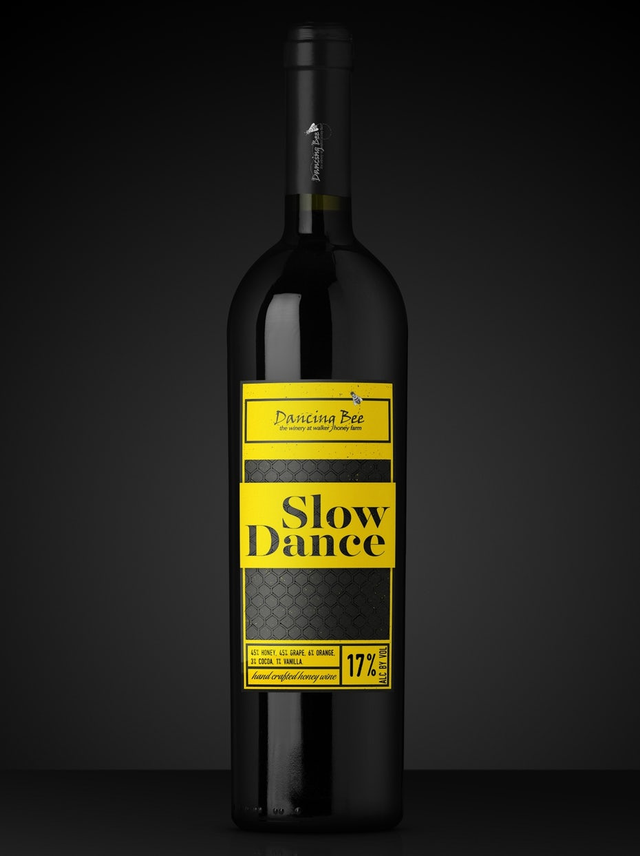 Bright yellow red wine label