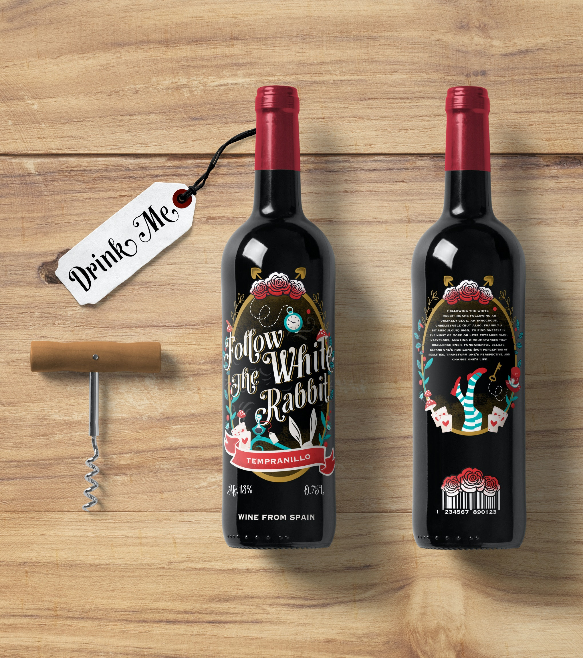 Alice in Wonderland-inspired wine label