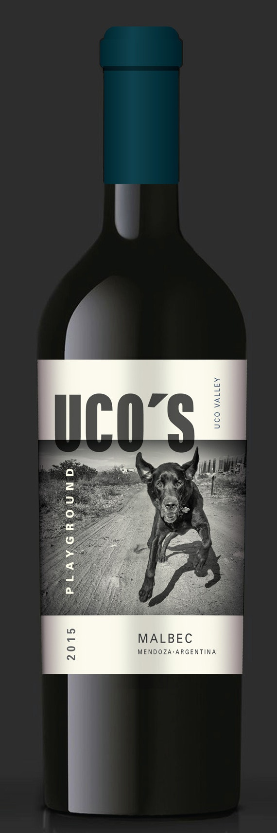 Modern wine label featuring dog