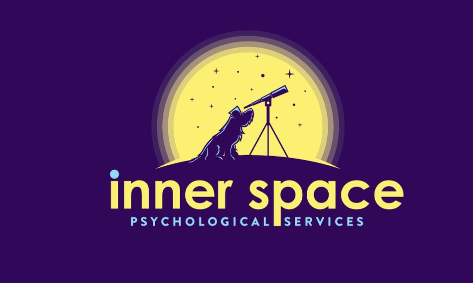Logo with dog looking through telescope