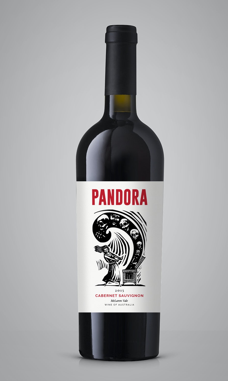 Wine label using linocut elements