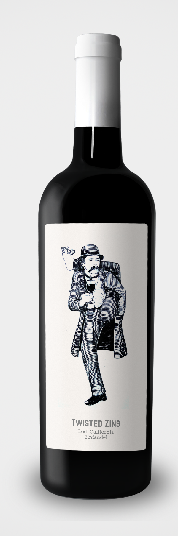 Contemporary wine label featuring old-school character