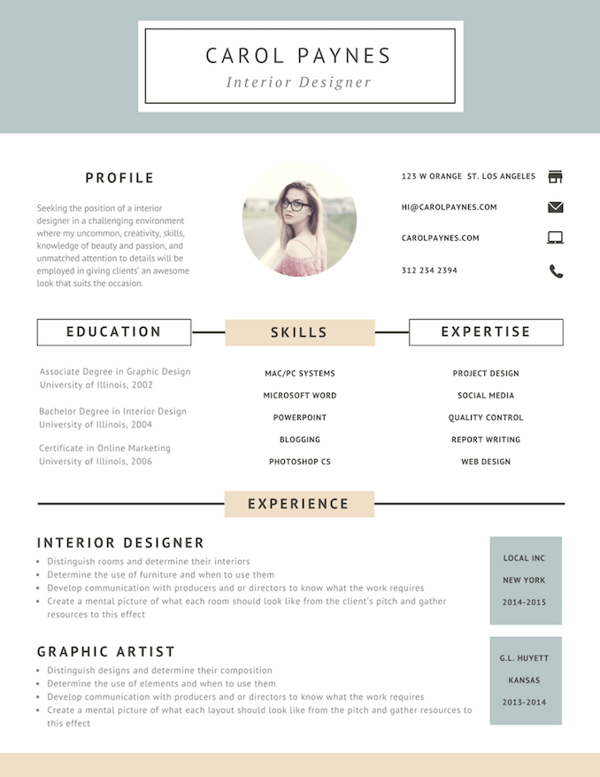 7 resume design principles that will get you hired 99designs interior designer resume altavistaventures Choice Image