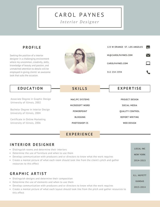 incroyable Interior designer resume