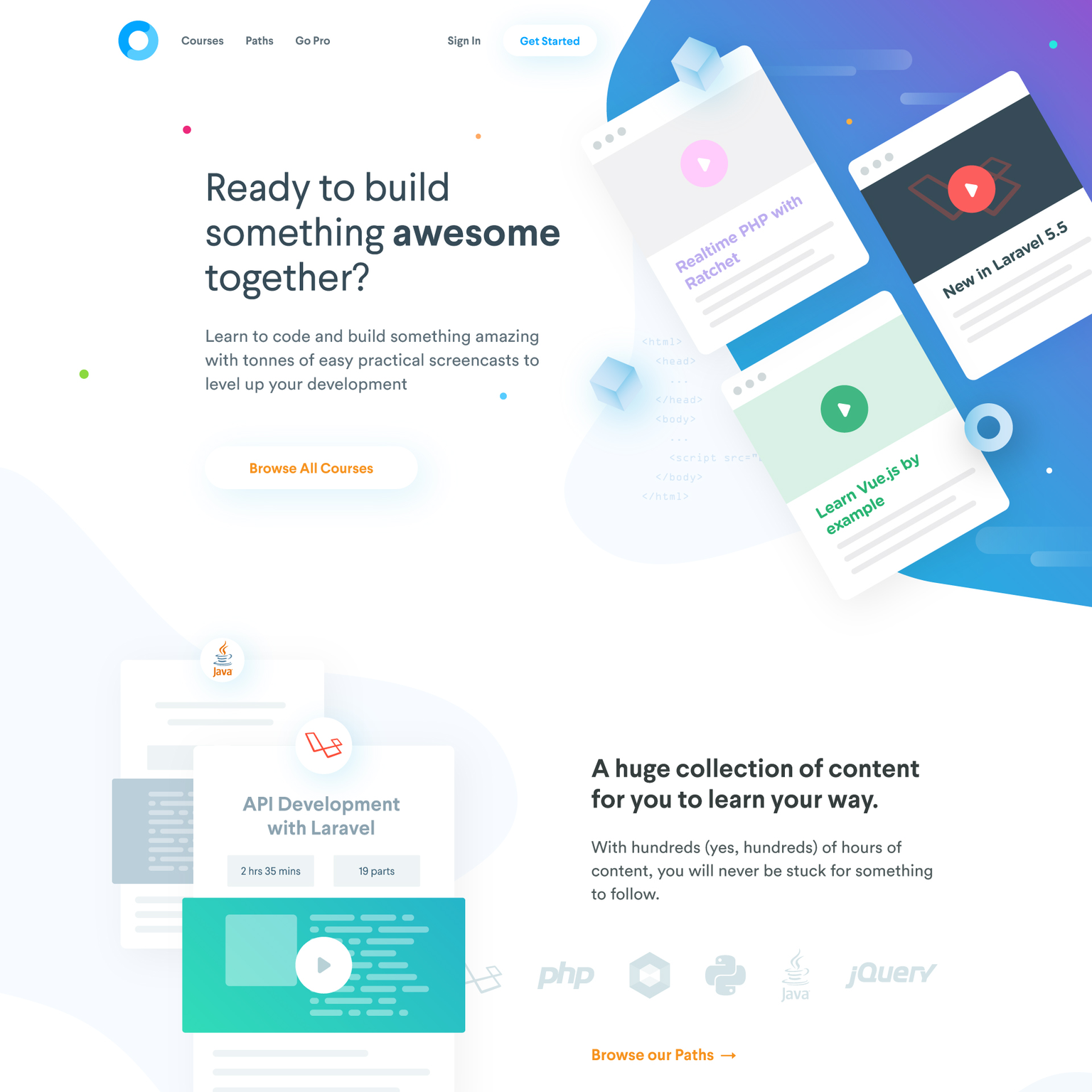 Codecourse homepage design