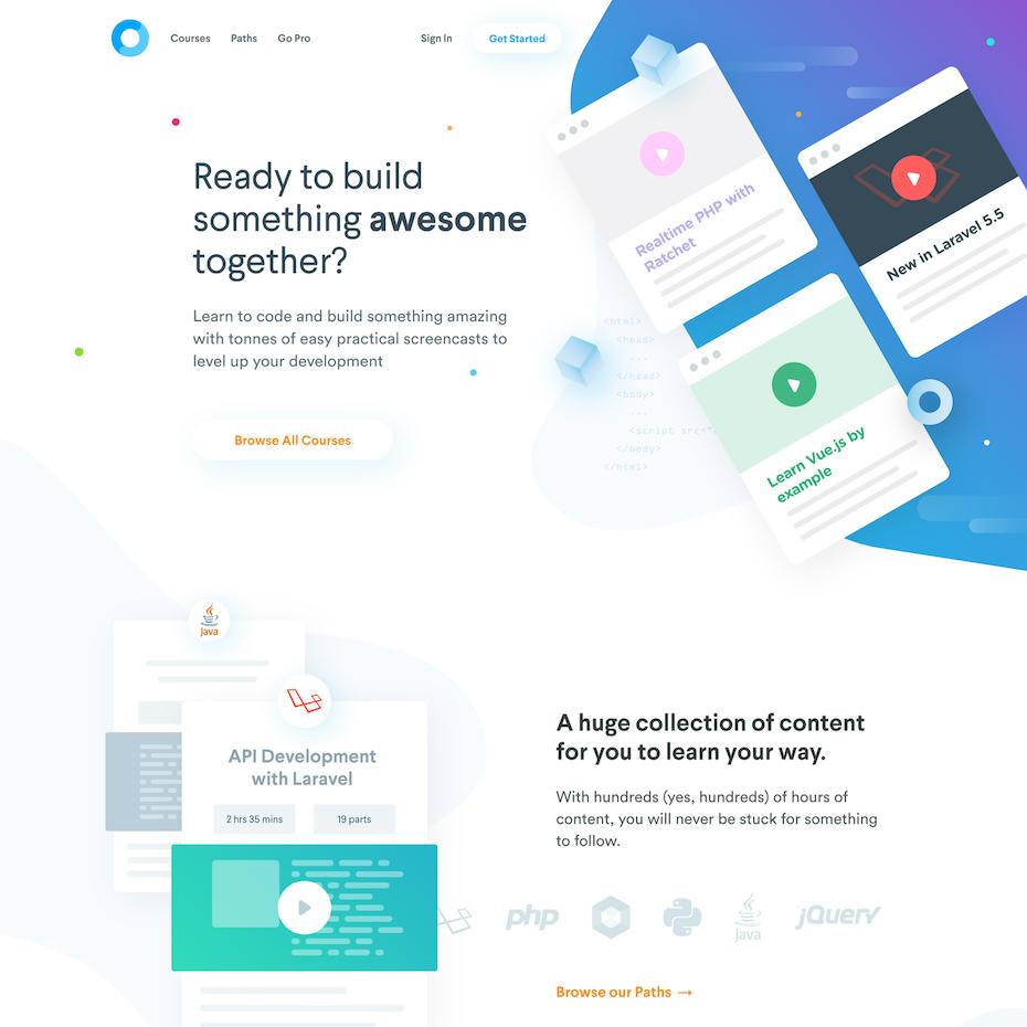 Codecourse homepage design
