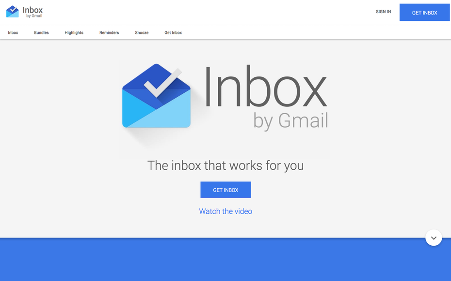 Inbox by Gmail website screenshot