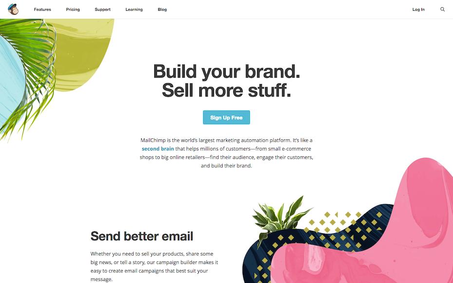 Mailchimp website screenshot