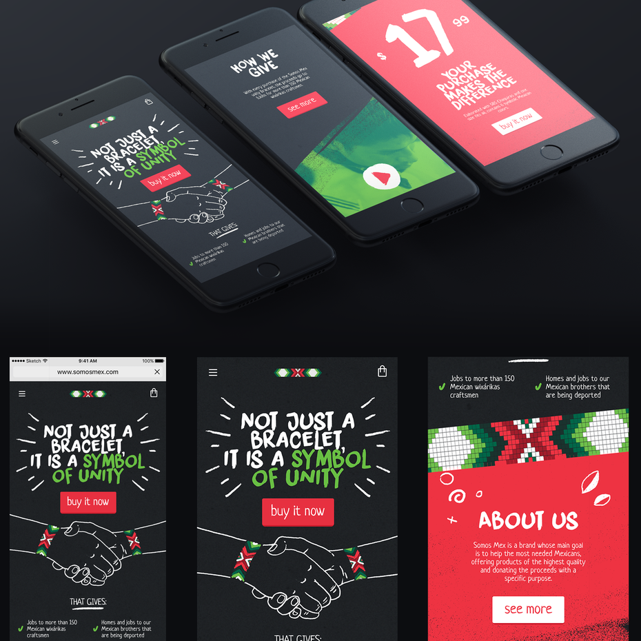 illustrated mobile site design concept