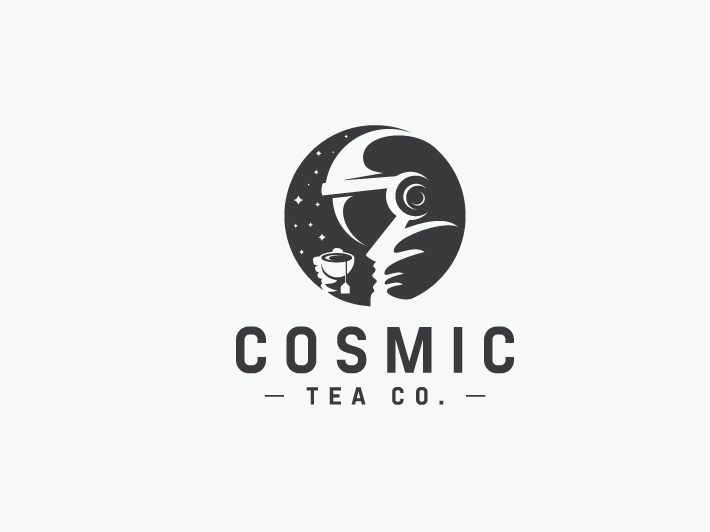 Logo with astronaut drinking tea in space