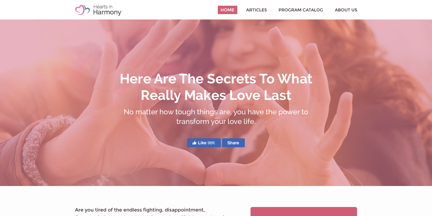 Pink landing page for Hearts in Harmony