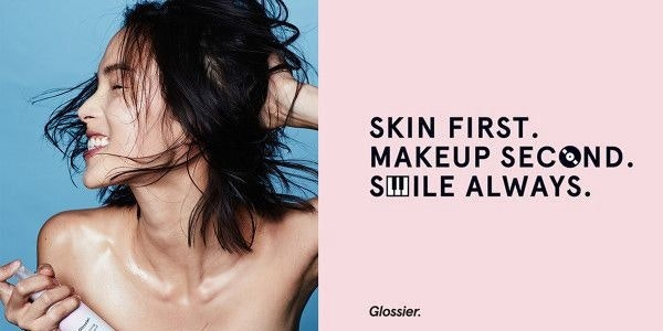 Pink web page for Glossier