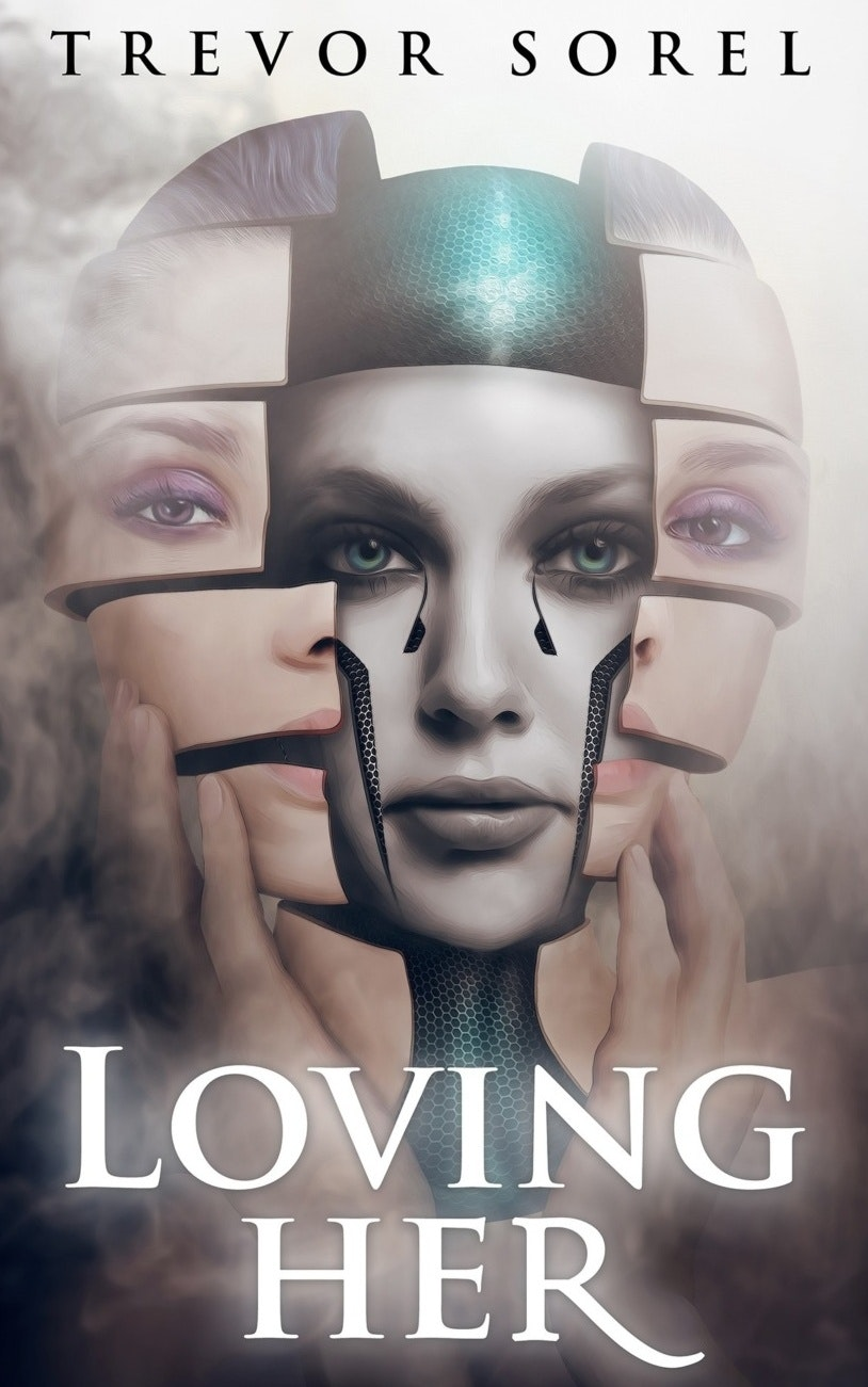 A book cover showing an android behind a human fase