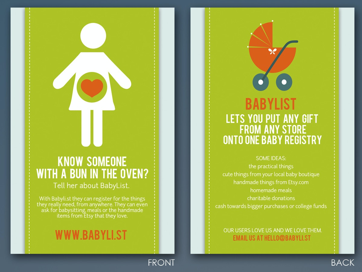 Graphic Flyer For A Baby Gift Registry Company