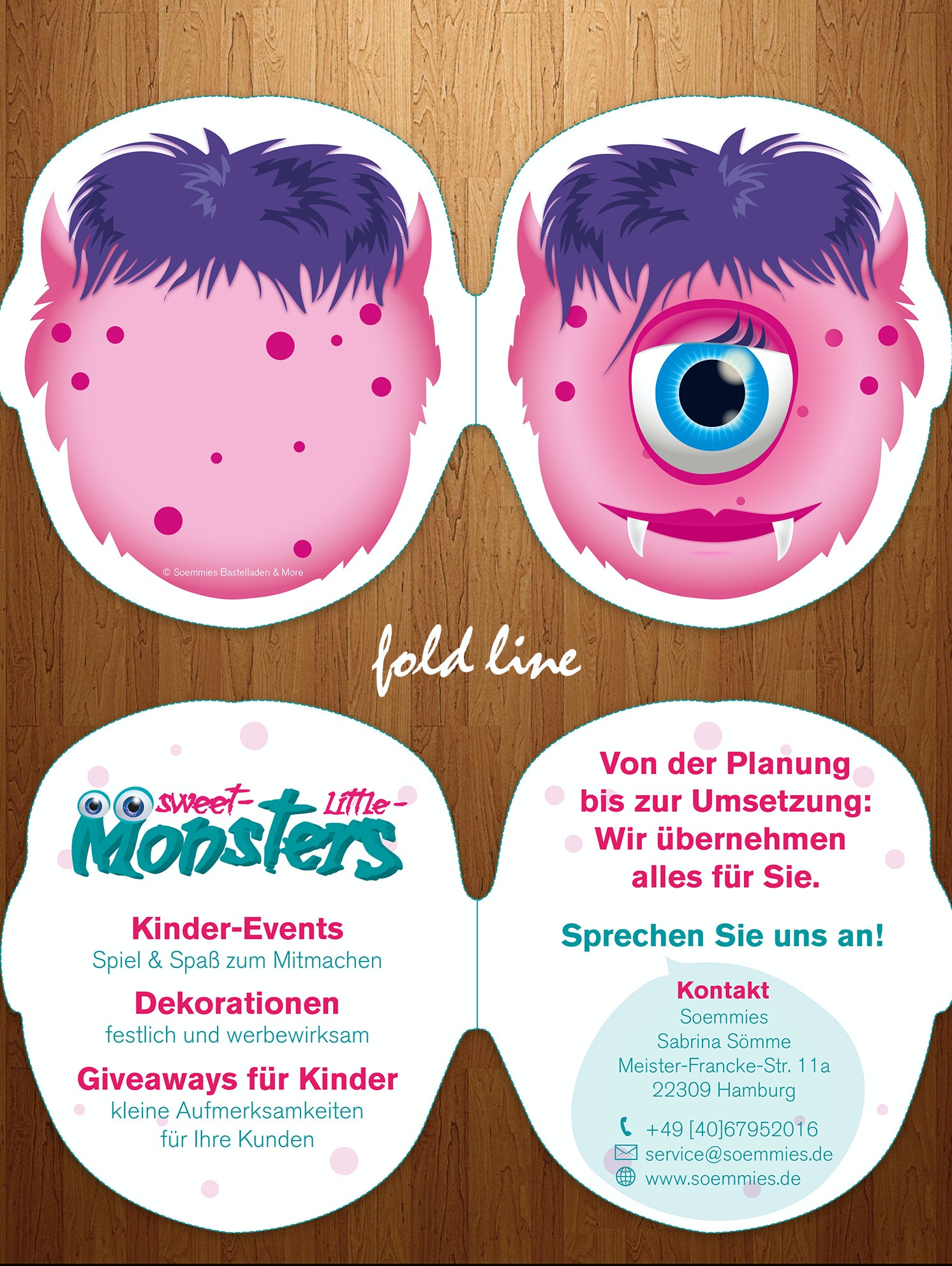Foldable flyer for children's events company