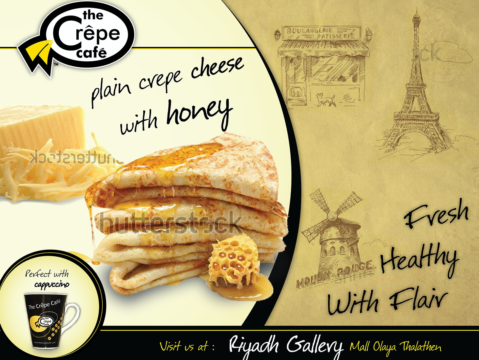 Flyer for plain crepe cheese with honey