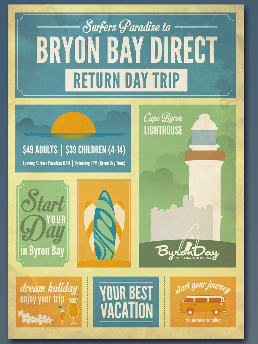 Flyer for Byron Day return day trip