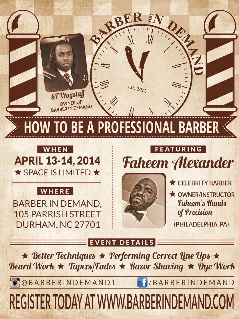 Vintage flyer for barber shop