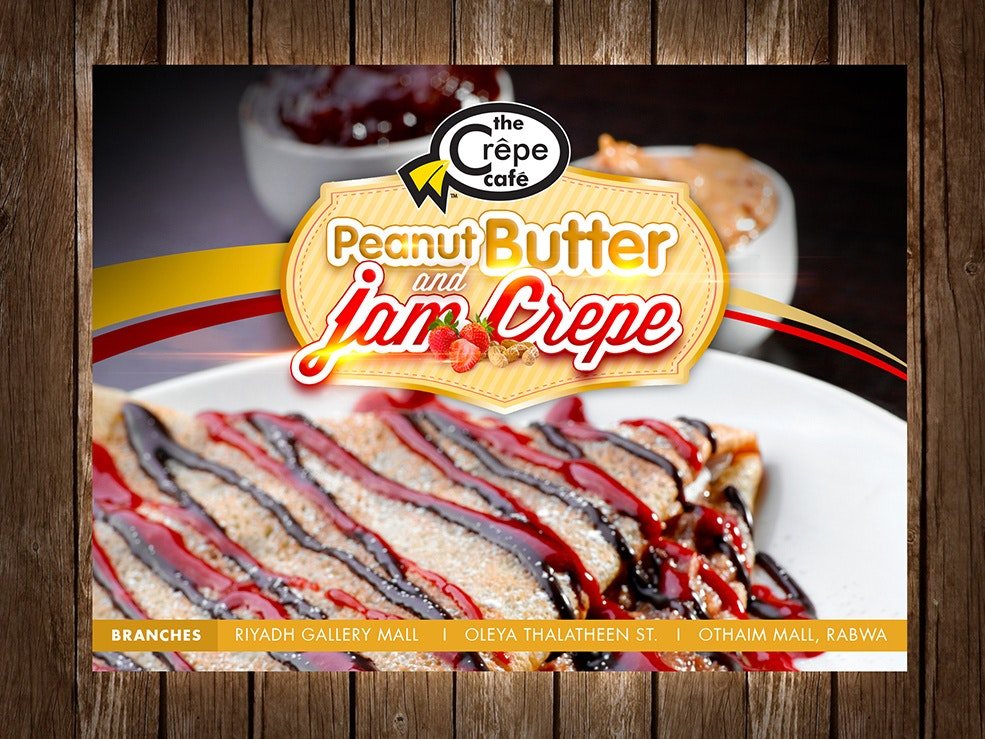 Flyer for peanut butter and jam crêpe