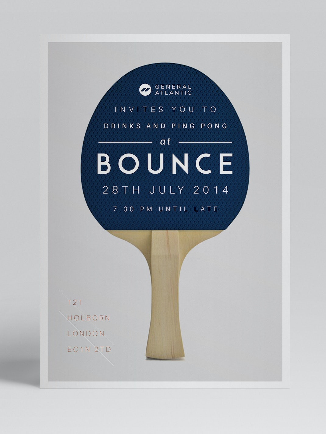 Minimalist flyer with a table tennis design