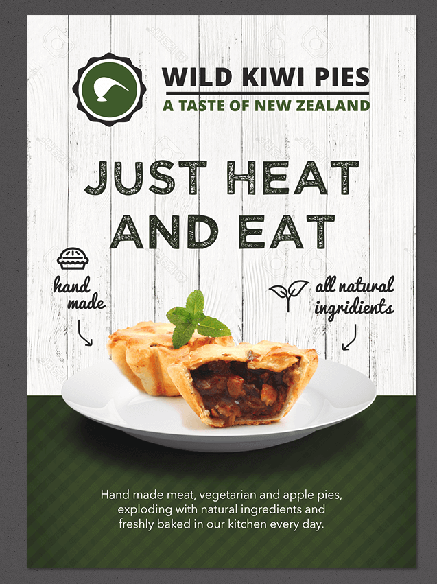 Flyer for a new meat pie company