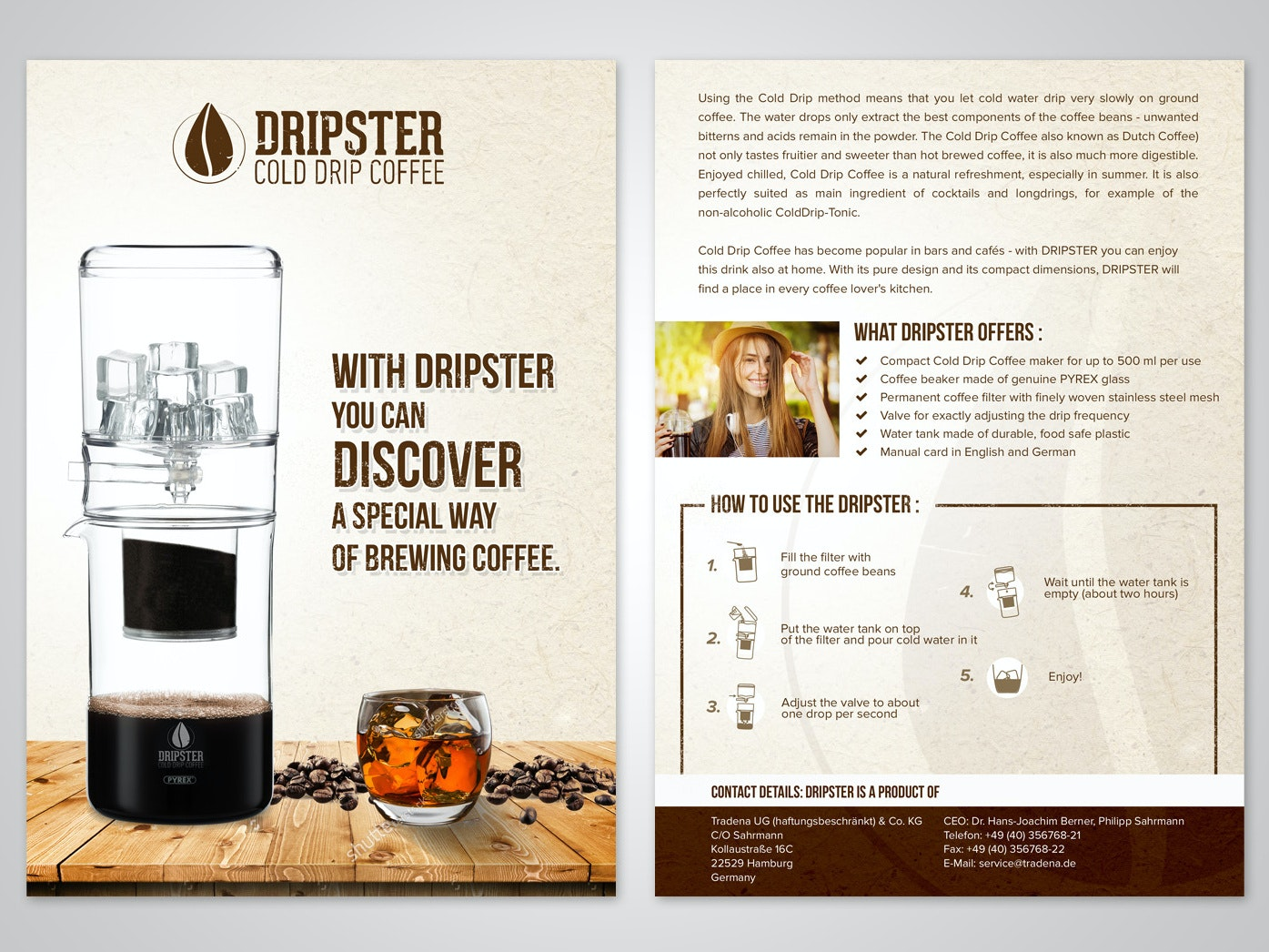 Flyer for cold drip coffee brand