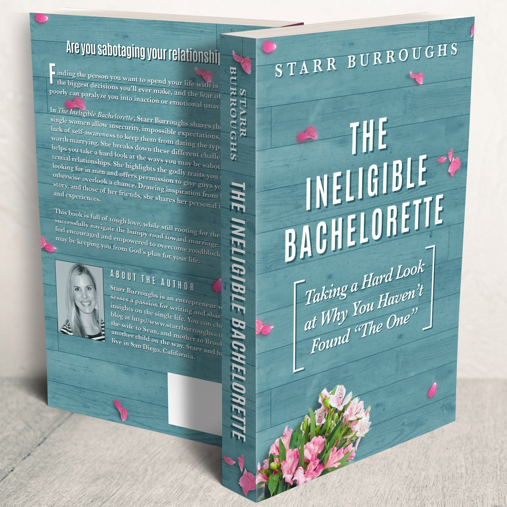 Book cover design featuring an image of discarded flowers