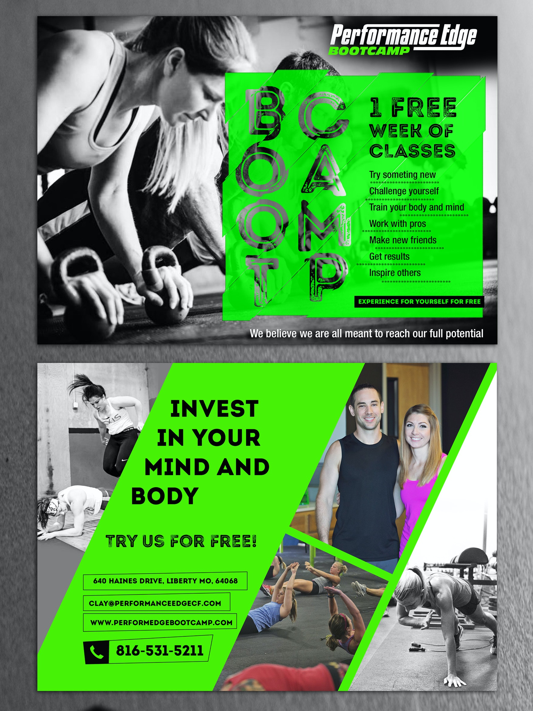 Black and bright green flyer for fitness company