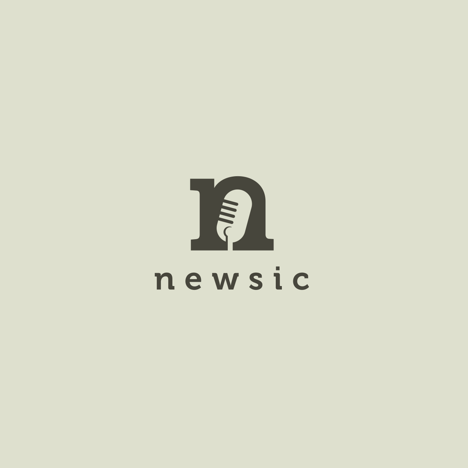 Logo with microphone illustration