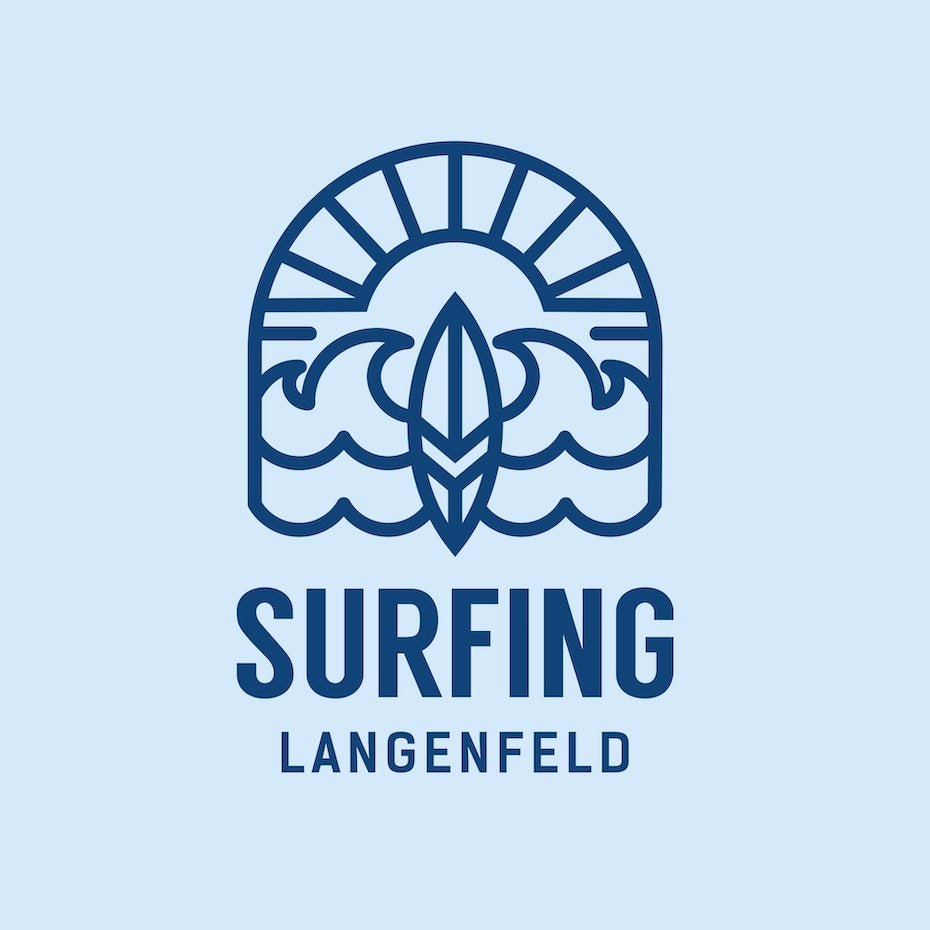 Logo with simple surfing drawing
