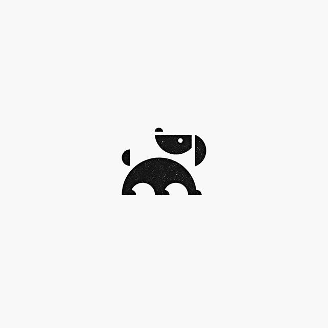 Logo with dog illustration