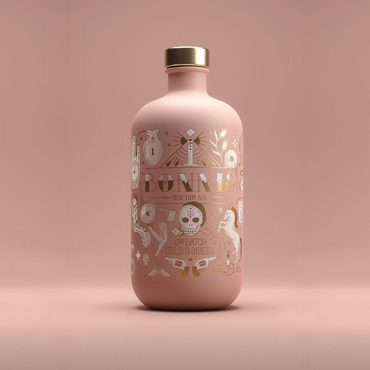 Bottle label design for Bonnie & Clyde limited edition gin