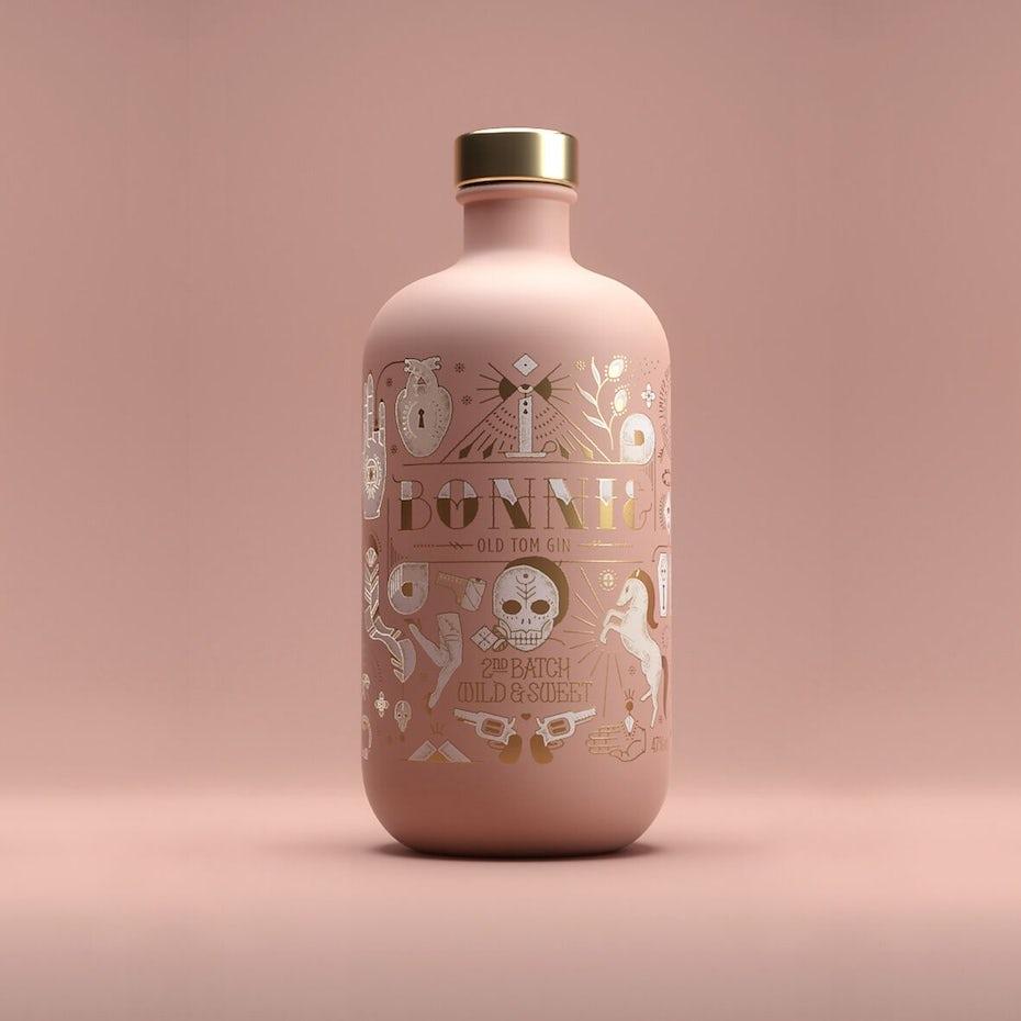 Conception d'étiquette de bouteille pour Bonnie & Clyde édition limitée gin