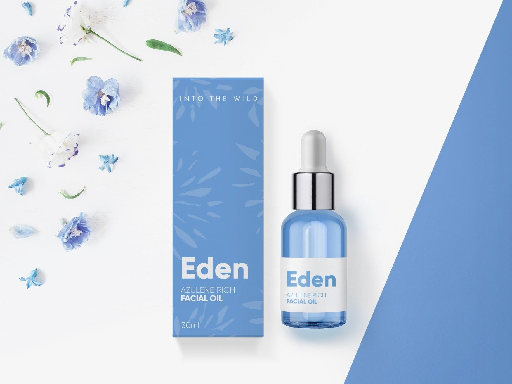 Packaging design for blue facial oil