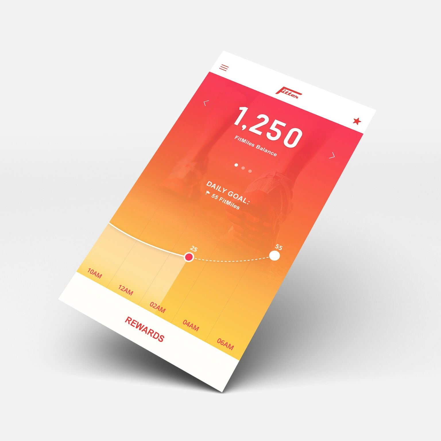 FitMiles by Fitter app UI design