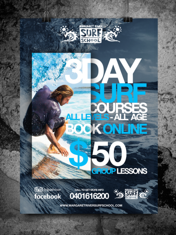 Margaret River Surf School poster mockup
