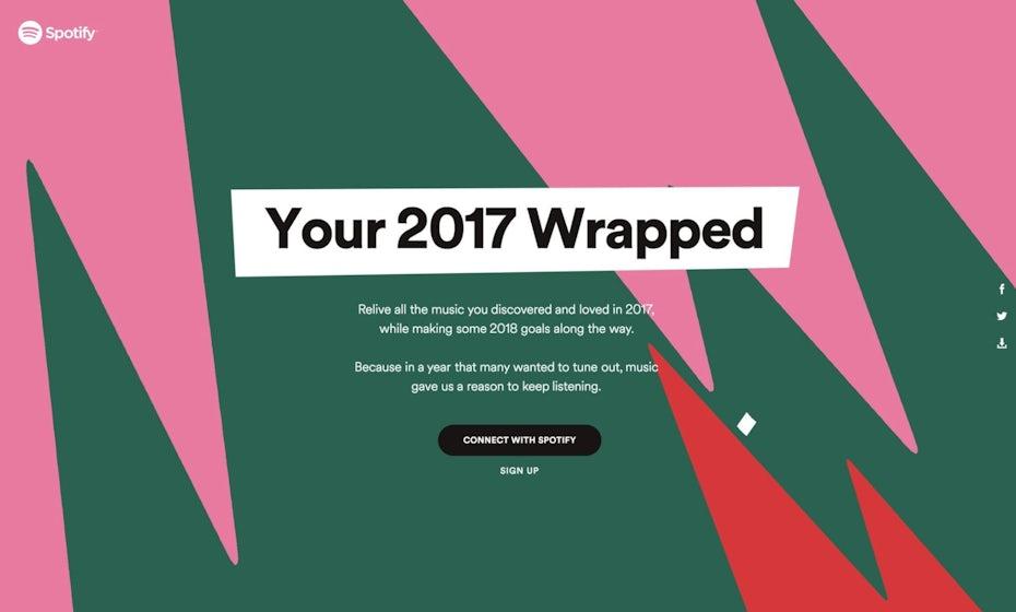 Le design du microsite Wrapped 2017 de Spotify