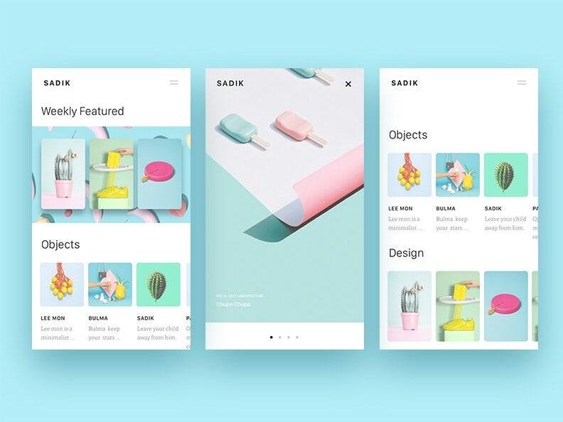 Eksplorasi desain aplikasi pastel minimalis