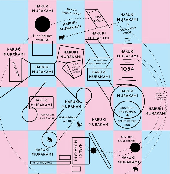 Book Cover Typography Map ~ The surreal universe of haruki murakami book covers