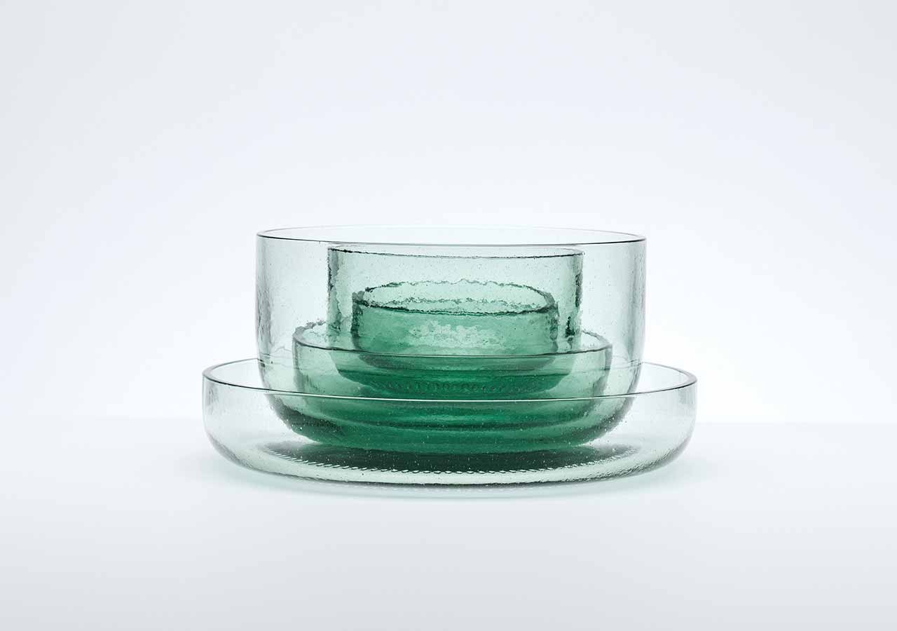 Bowls from recycled glass Coca-Cola bottles by Nendo