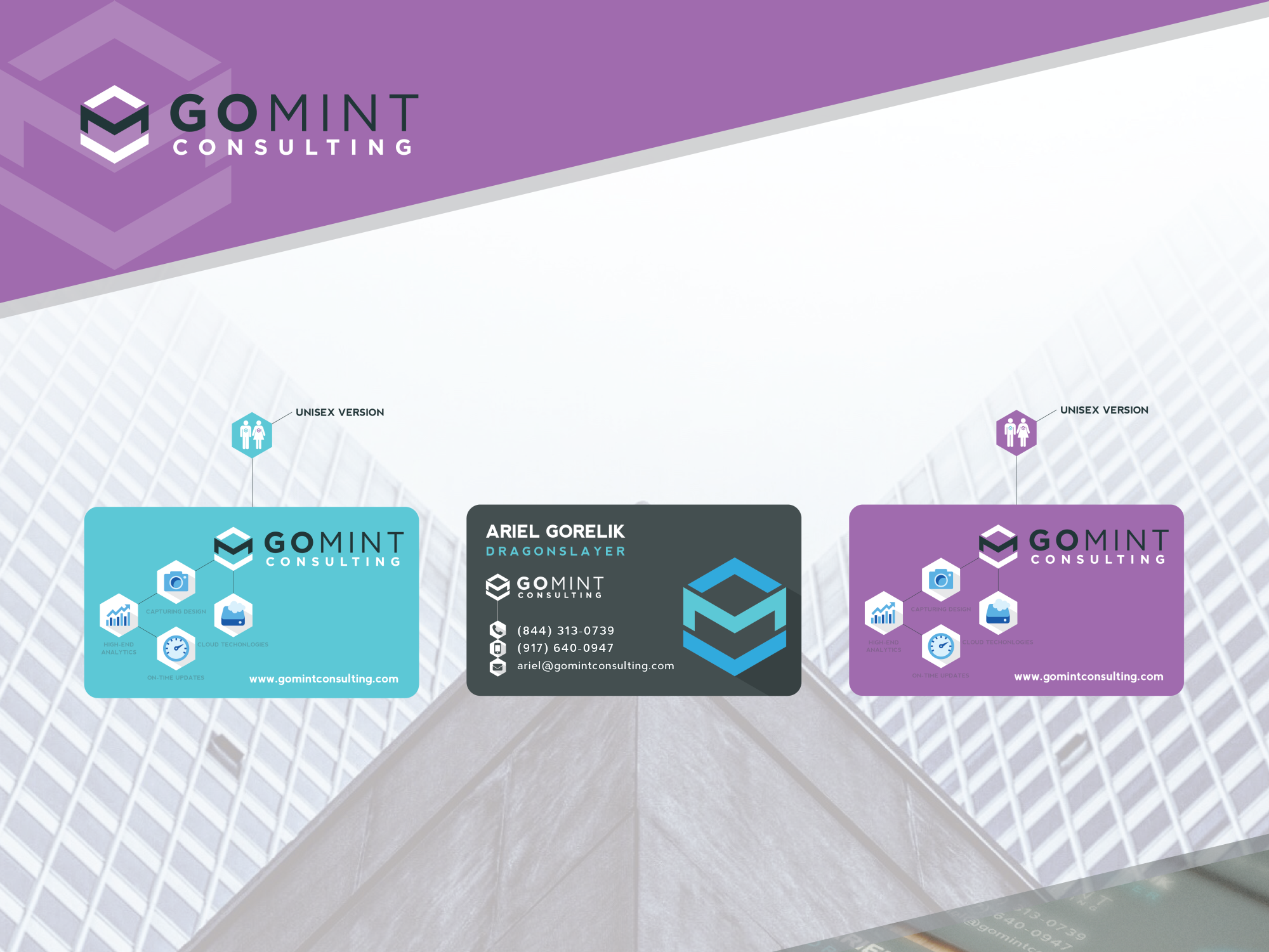 Go Mint Consulting business card design