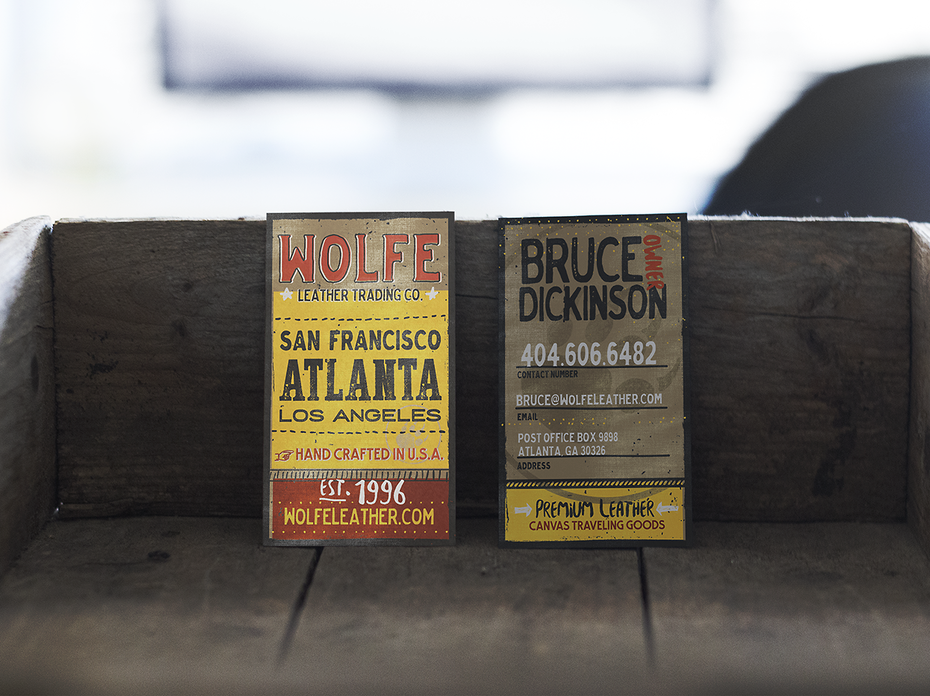 The best business card fonts to make you stand out 99designs wolfe leather business card reheart Images