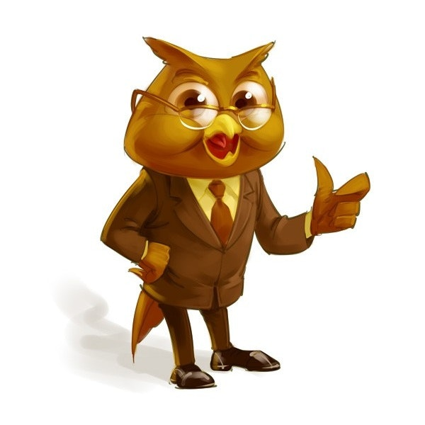 An illustrated mascot of an owl accountant character