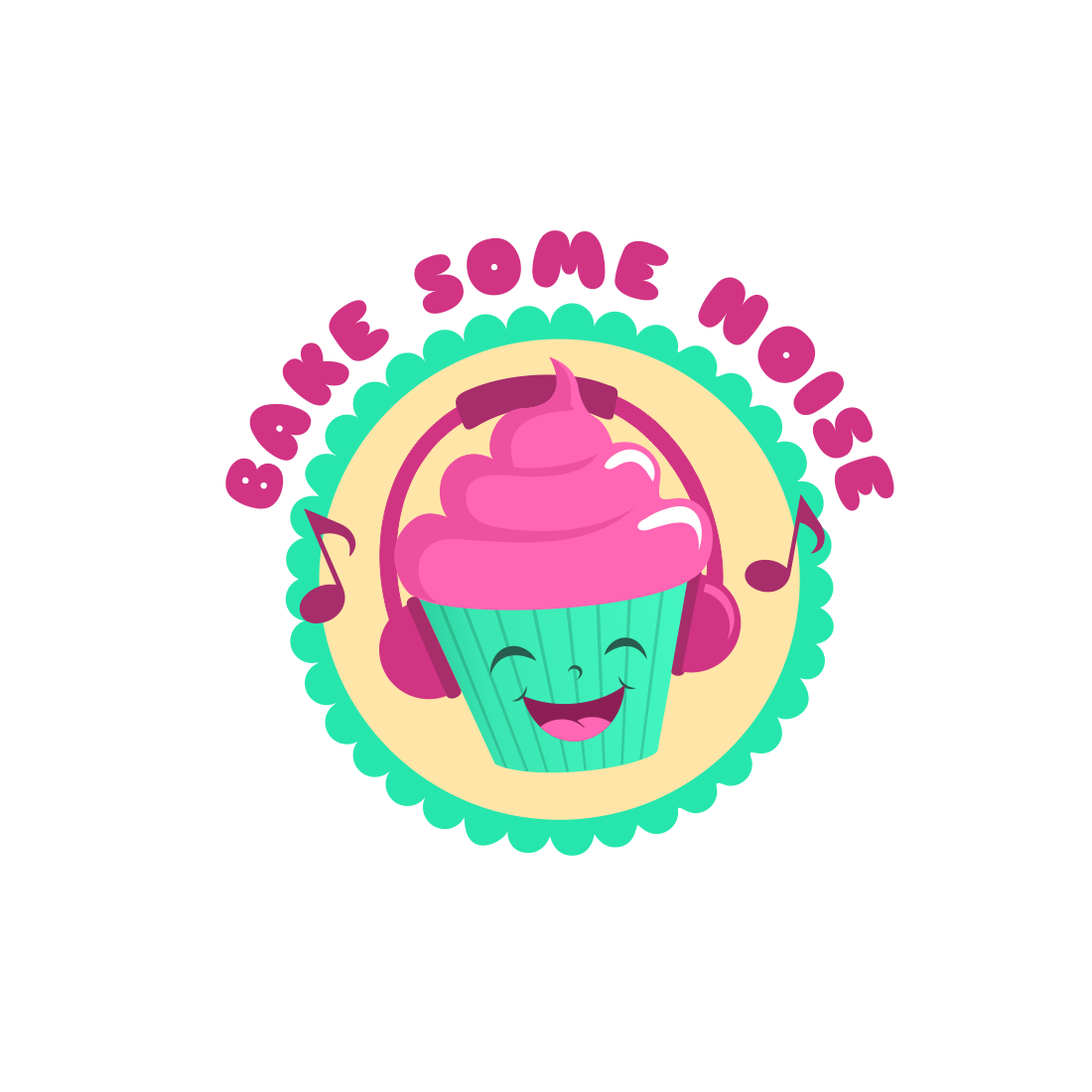 "Cartoon image of a cupcake with the phrase ""bake some noise"""