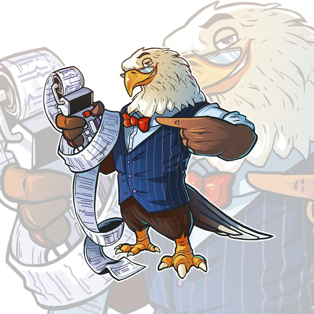 An illustrated mascot of an eagle accountant character