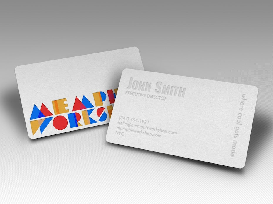 The best business card fonts to make you stand out 99designs memphis workshop business card colourmoves