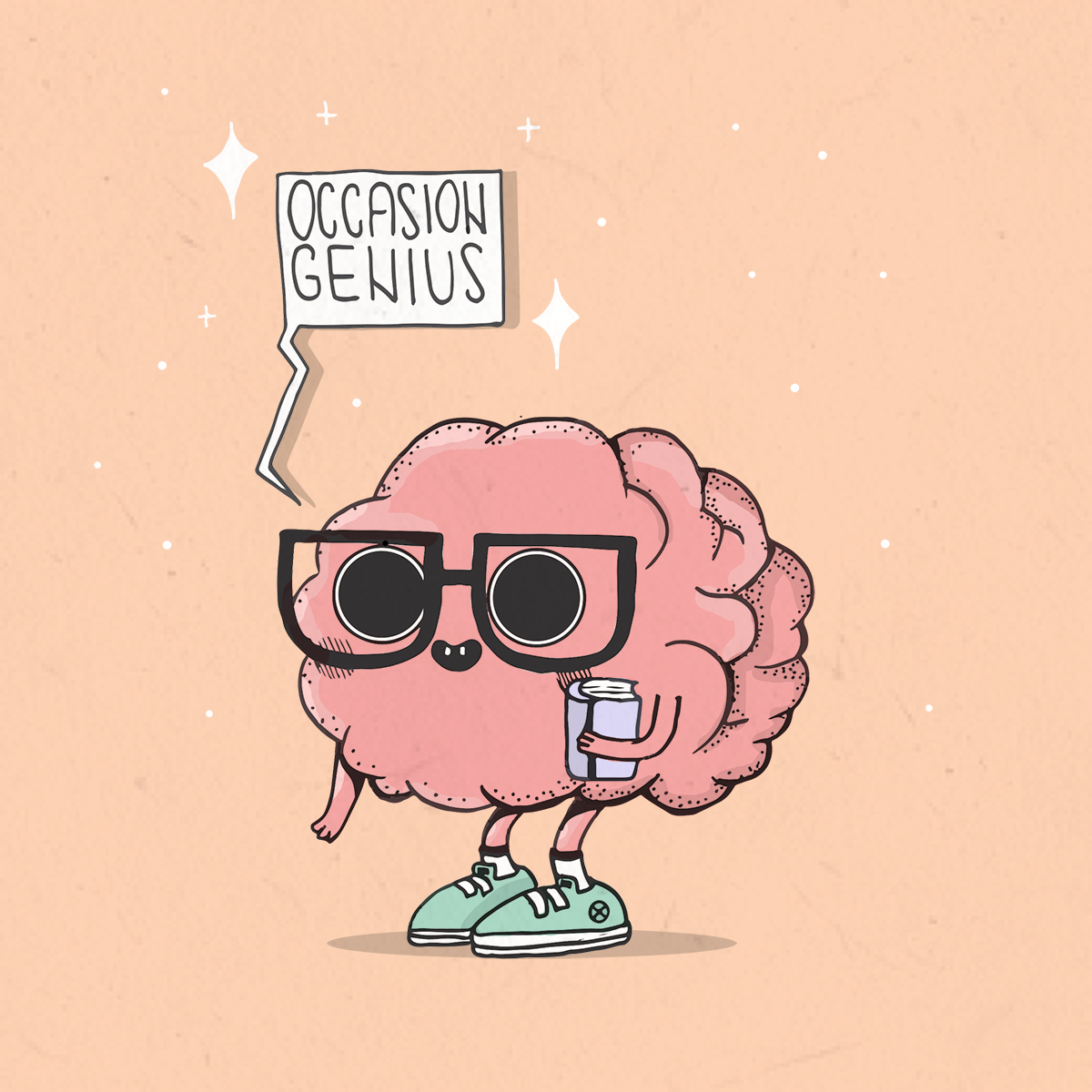 brain with thick rimmed glasses