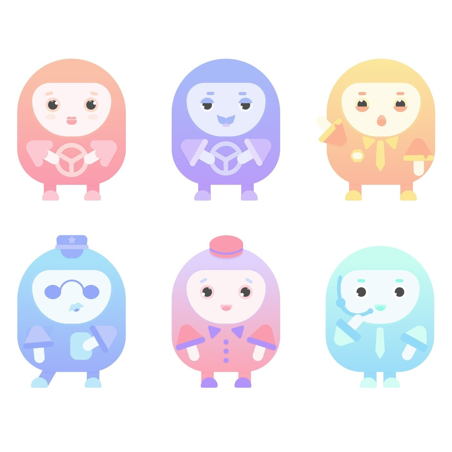 Cute, colorful character designs for a parking app