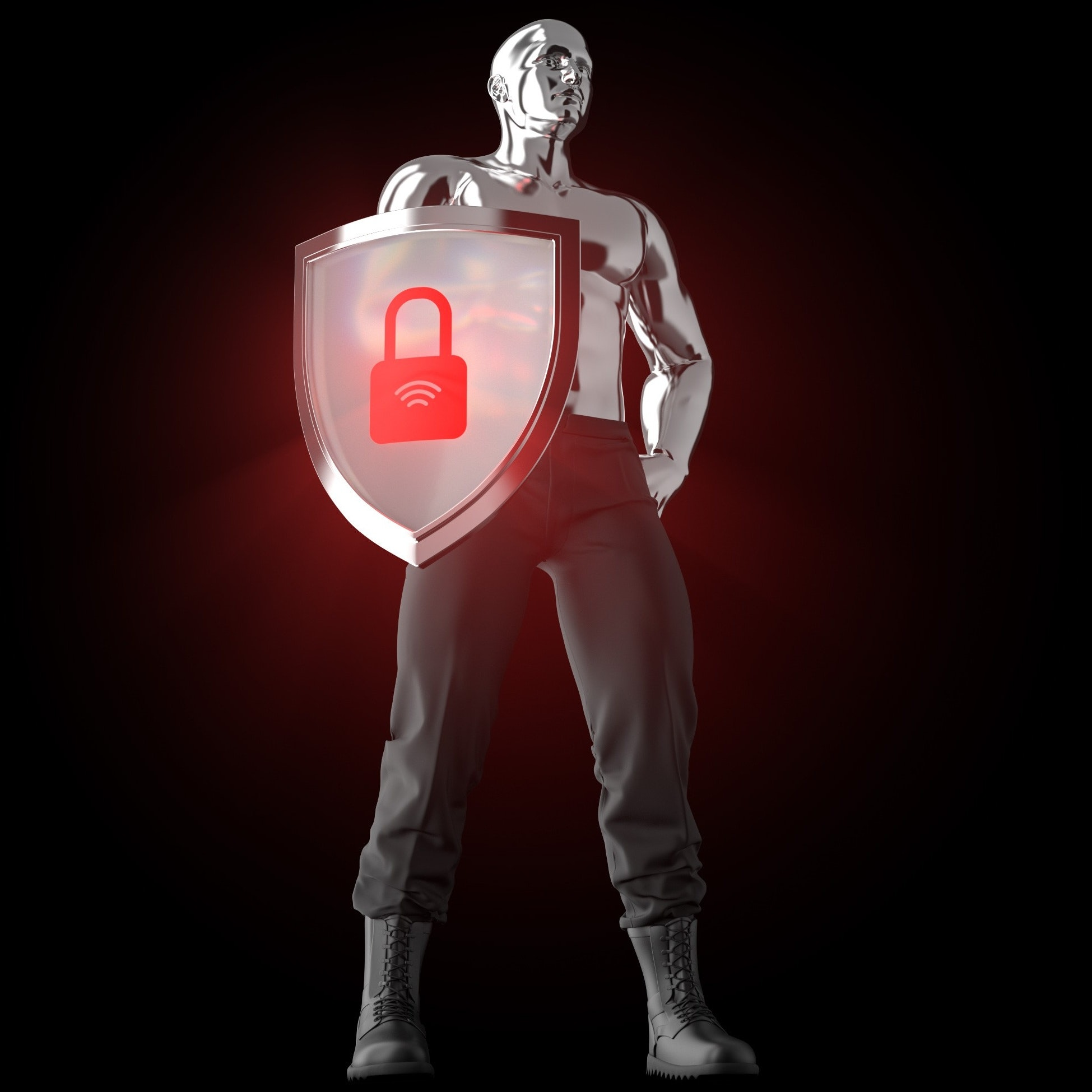 A 3D model of a steel man with a shield