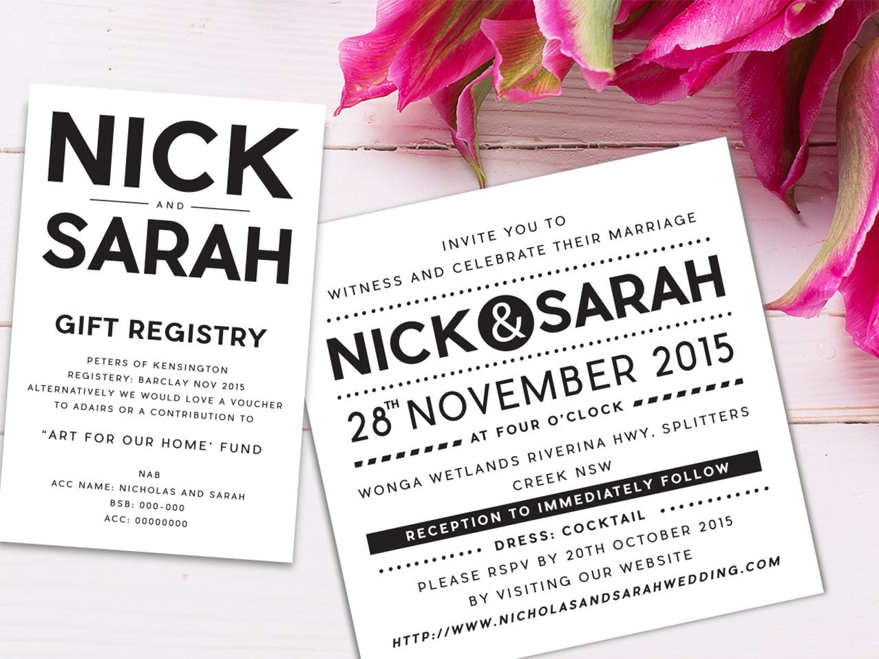 A typographic wedding invitation